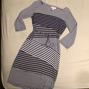 Navy and White Striped Maternity Dress